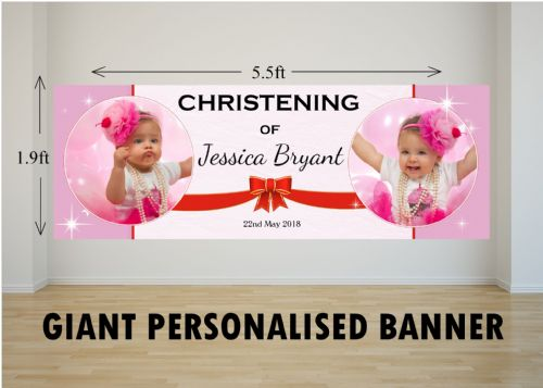 Personalised GIANT Large Girls Christening Baptism Poster Banner N47